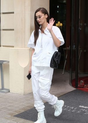Bella Hadid in White - Leaving Royal Monceau hotel in Paris
