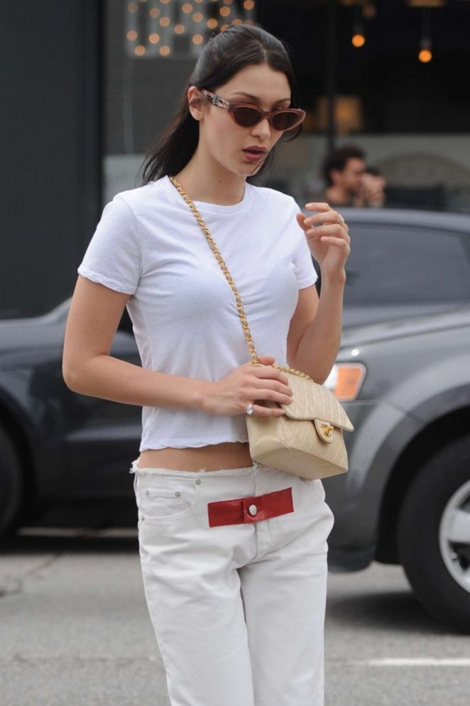 Bella Hadid in White out in Los Angeles