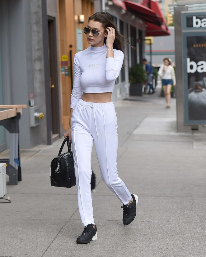 Bella Hadid in White out in New York City -02