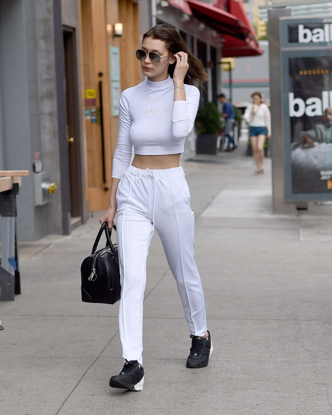 Bella Hadid in White out in New York City -16