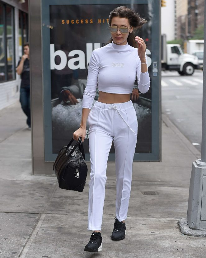 Bella Hadid in White out in New York City -20