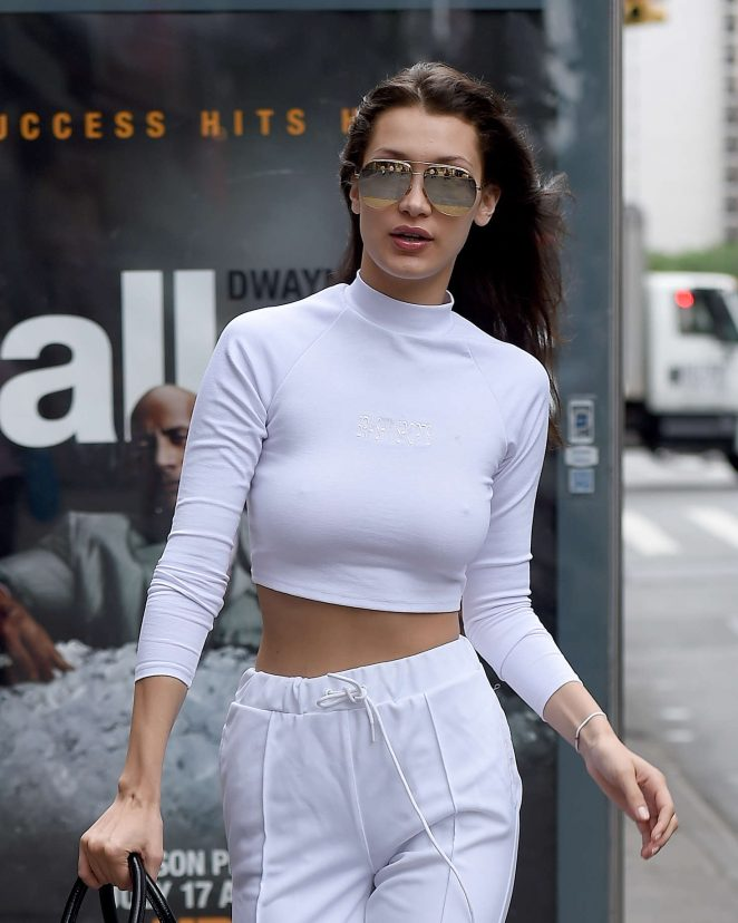 Bella Hadid in White out in New York City -24