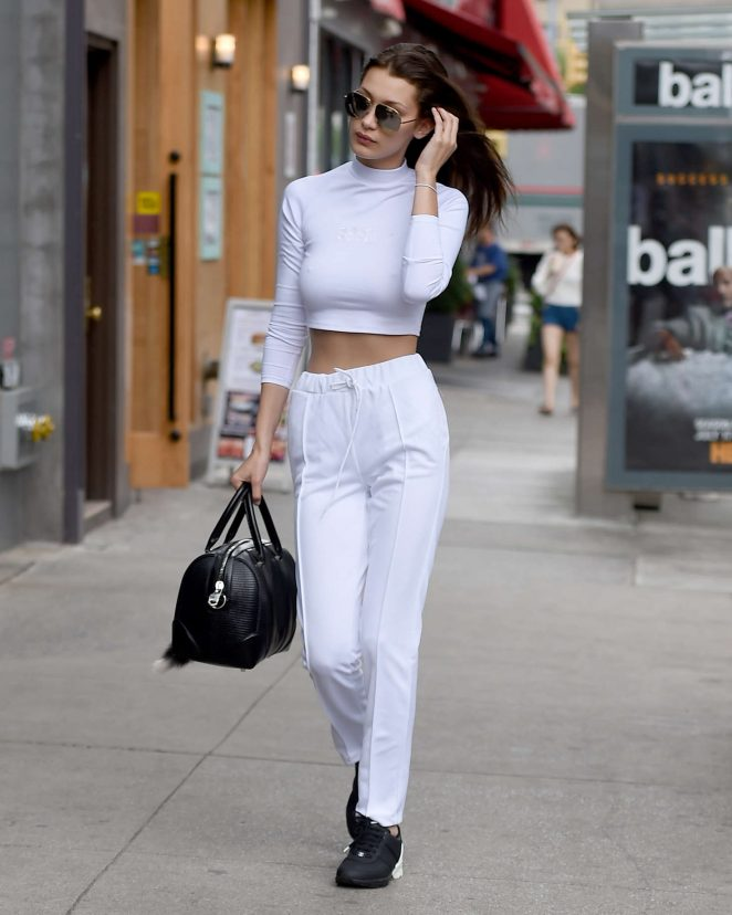 Bella Hadid in White out in New York City -25