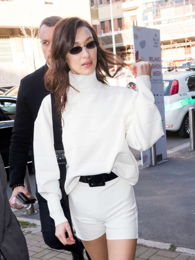Bella Hadid in White Outfit – Out in Milan