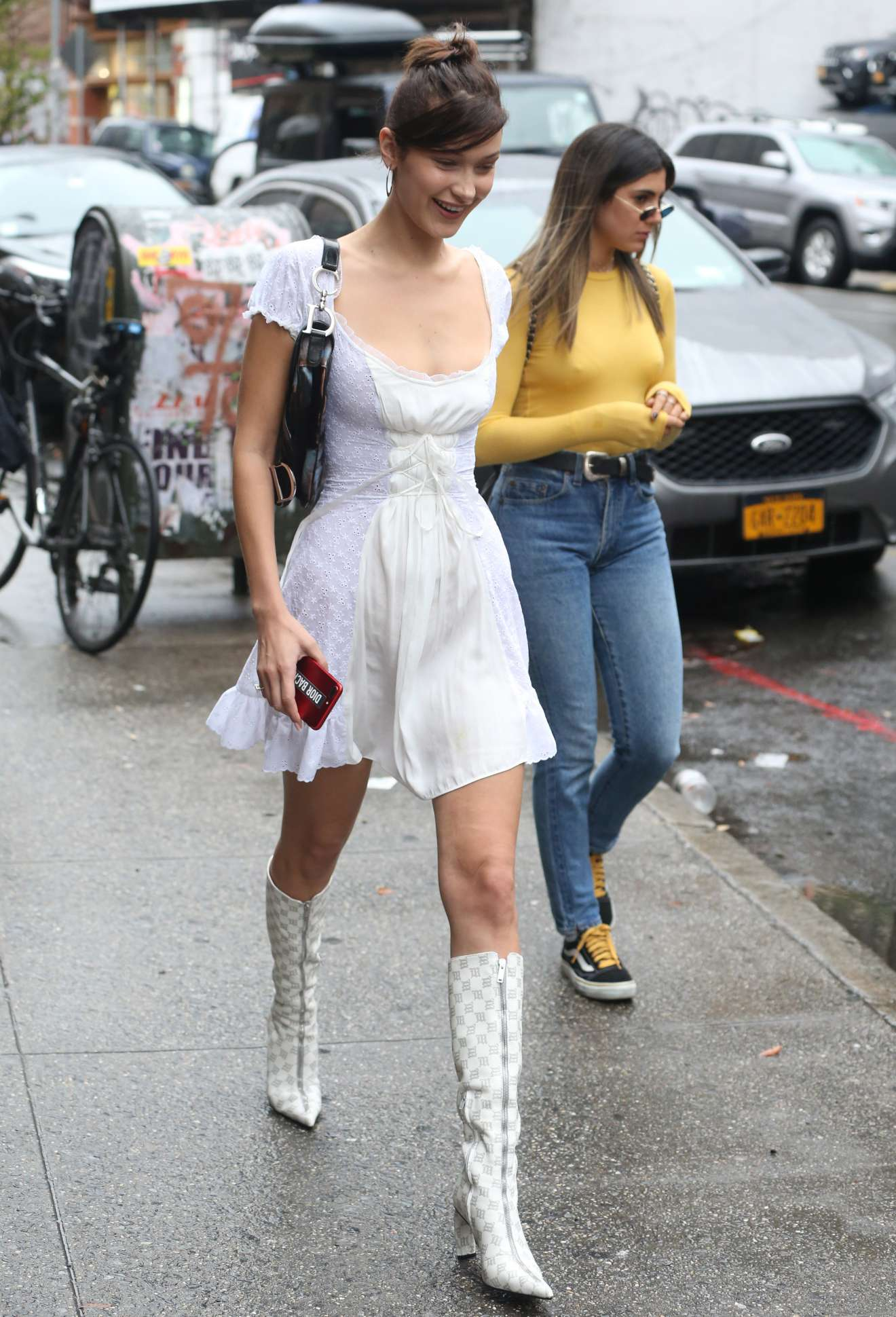 Bella Hadid: In White Summer Dress out in NYC-22 | GotCeleb