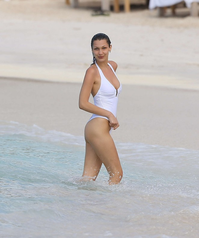 Back to post Bella Hadid in White Swimsuit in St. Barts