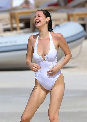 Bella Hadid in White Swimsuit in St. Barts