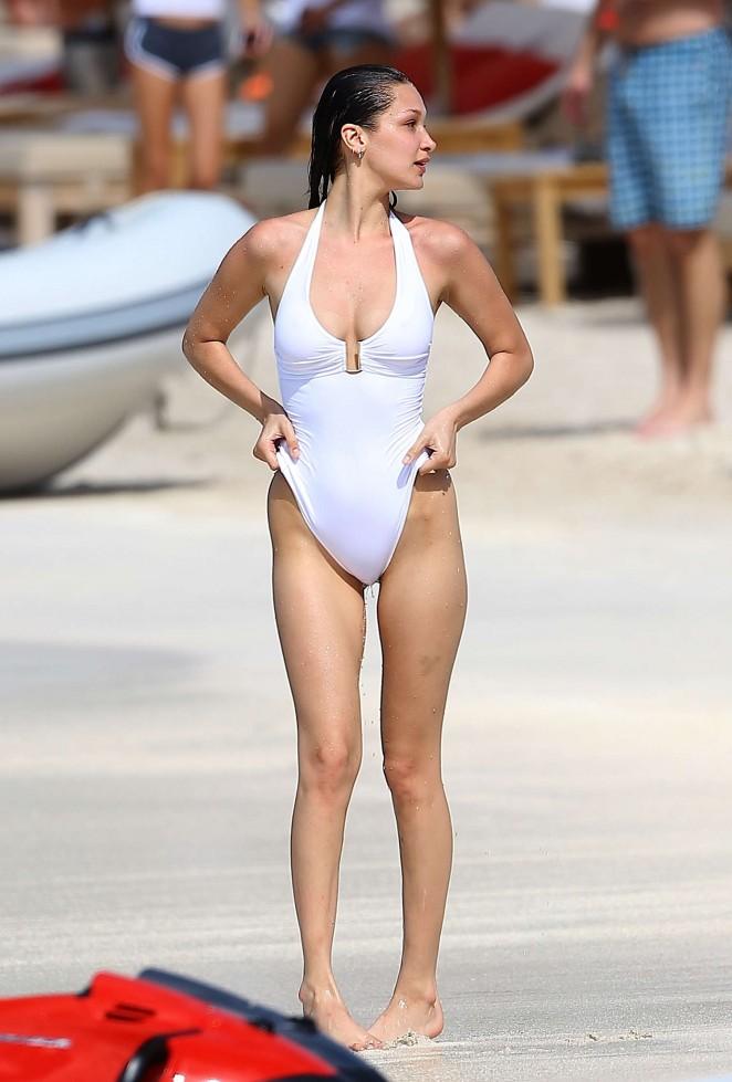e5facd8fd4 Bella Hadid in White Swimsuit 2016 -65 – GotCeleb