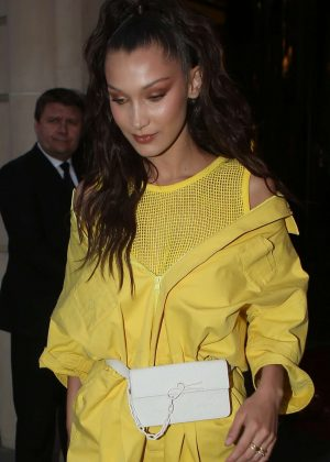 Bella Hadid in Yellow - Leaving her hotel in Paris