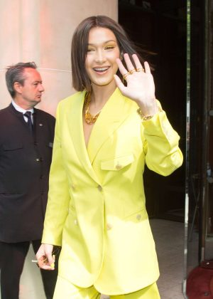 Bella Hadid in Yellow Suit - Leaving her hotel in Paris