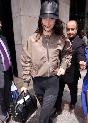 Bella Hadid in Tights Leaving her hotel in Paris