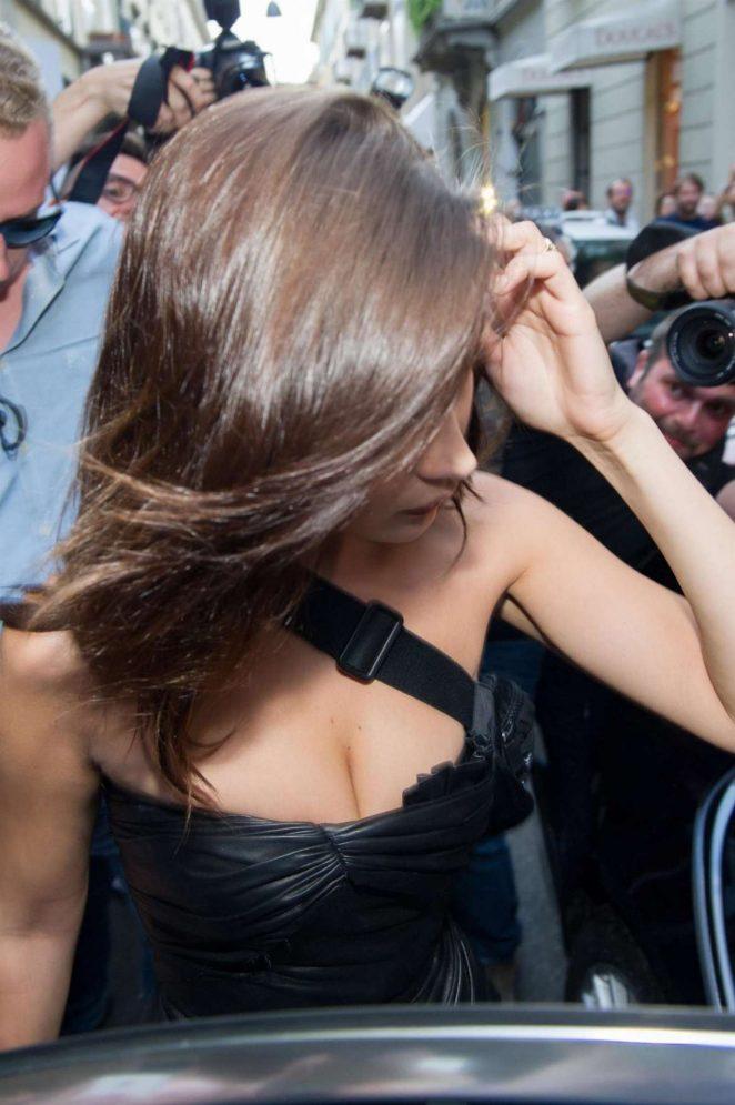 Bella Hadid: Leaving Versace Men SS 2019 Show -02