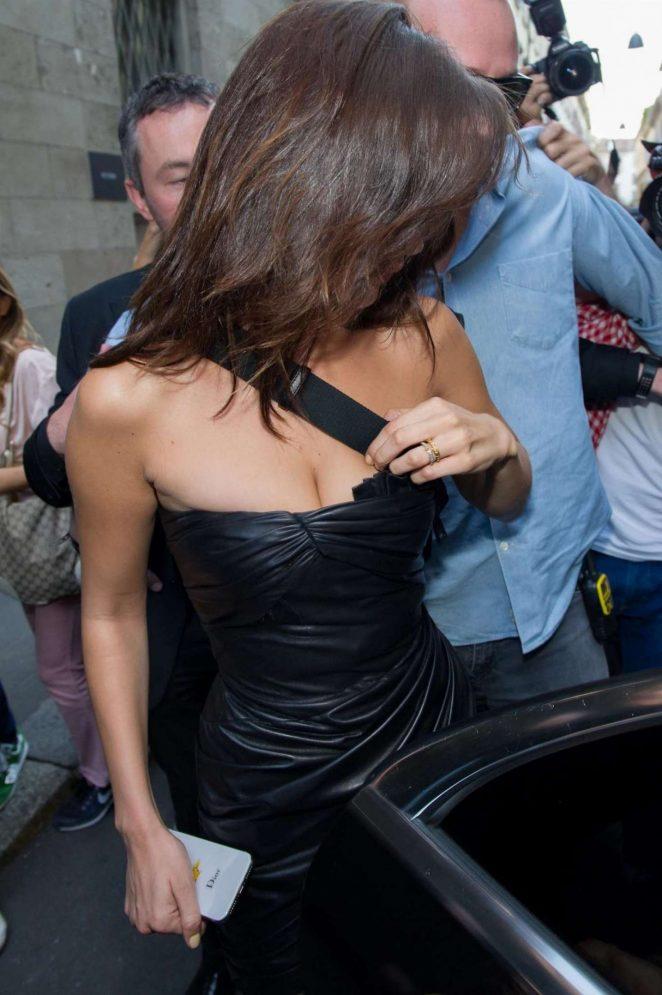 Bella Hadid: Leaving Versace Men SS 2019 Show -03