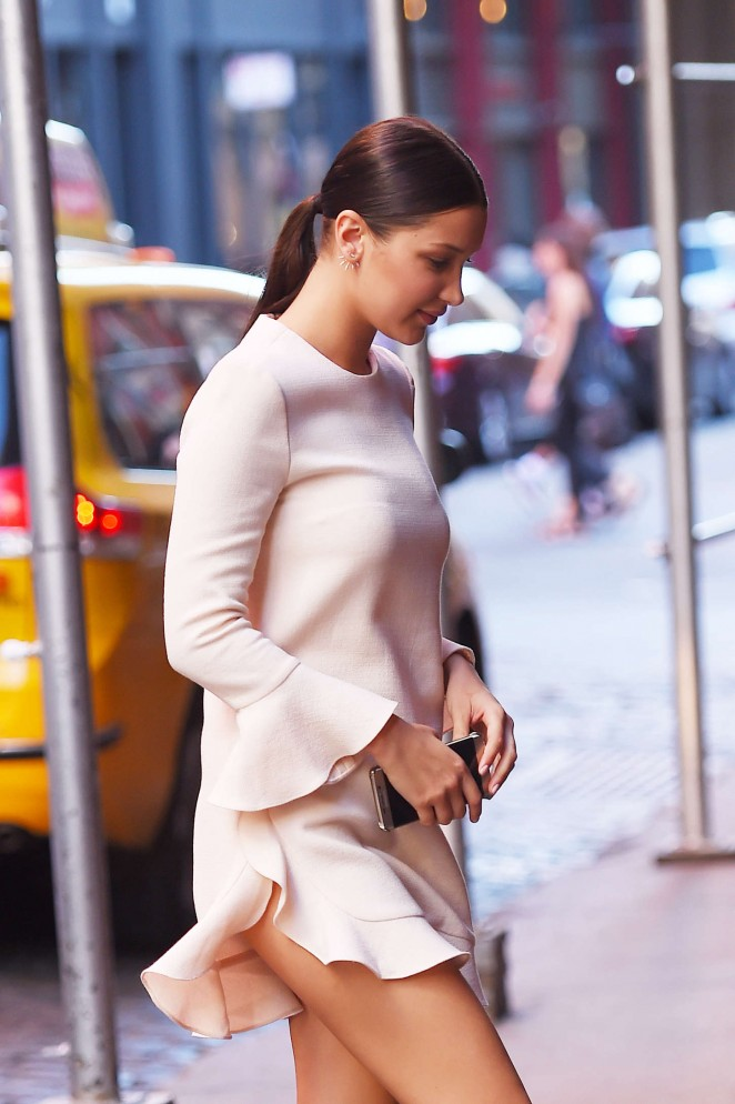 Bella Hadid in Mini Dress Out in NYC