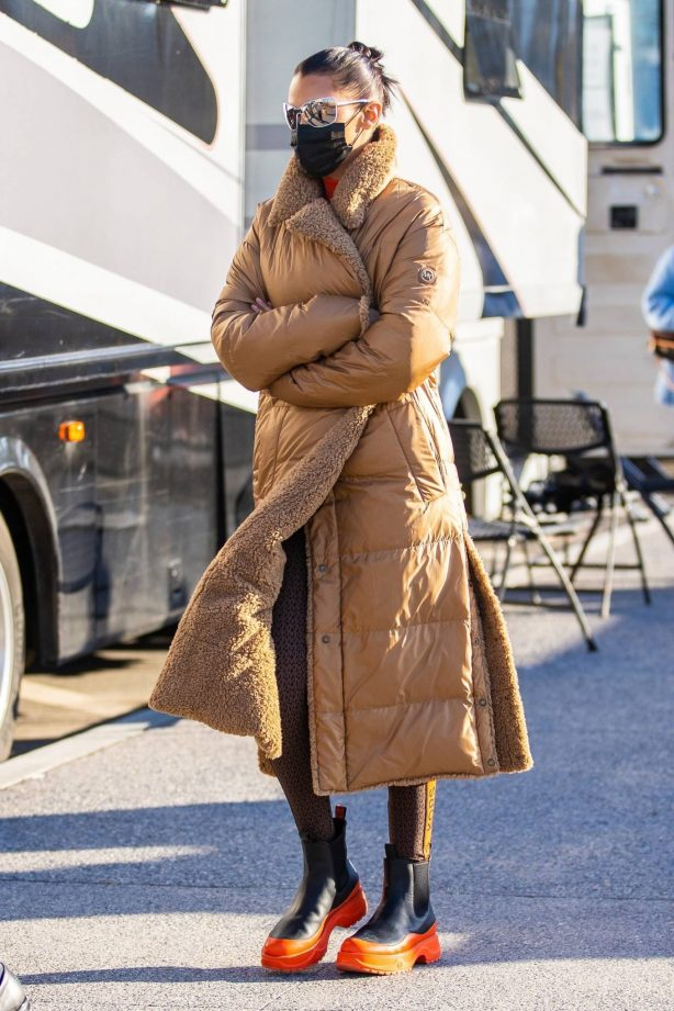Bella Hadid - Out in a winter coat on set of a Michael Kors campaign