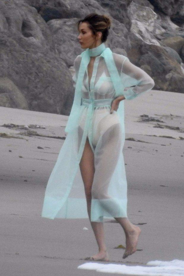 Bella Hadid - Photoshoot on the beach in Malibu