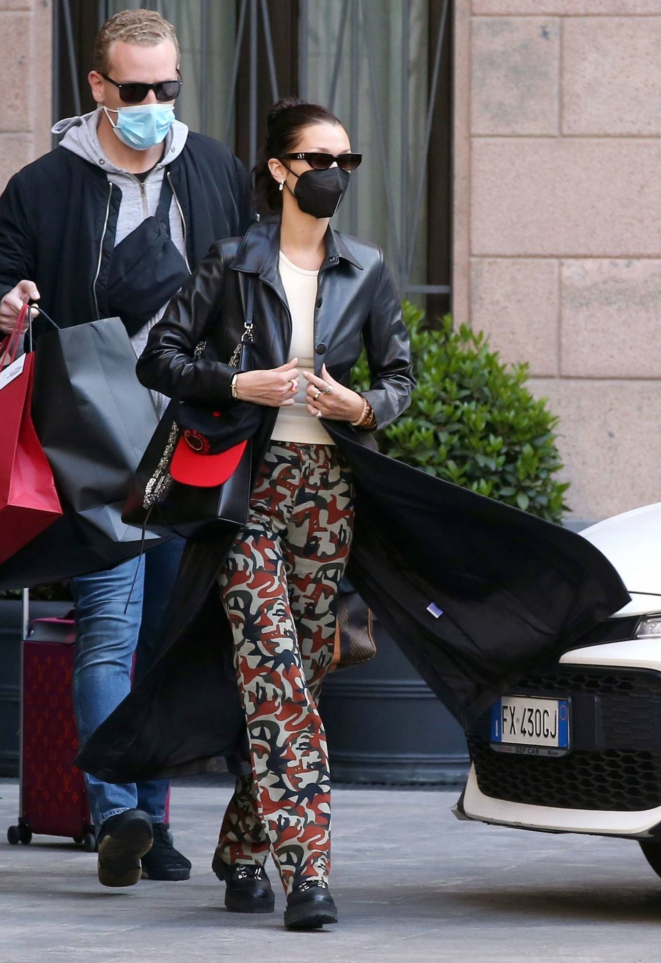 Bella Hadid 2021 : Bella Hadid – Pictured with her bodyguard while leaving her hotel and jetting off from Milan-04