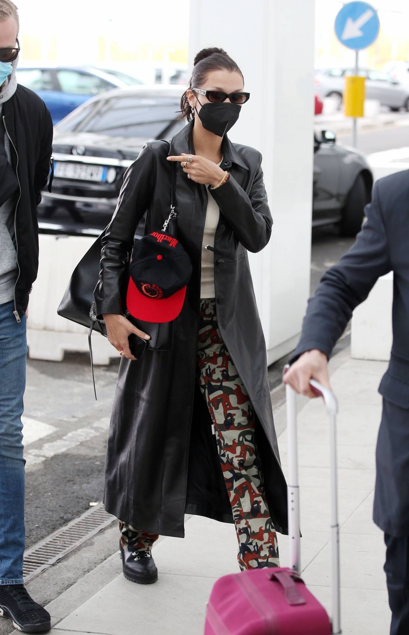 Bella Hadid 2021 : Bella Hadid – Pictured with her bodyguard while leaving her hotel and jetting off from Milan-07