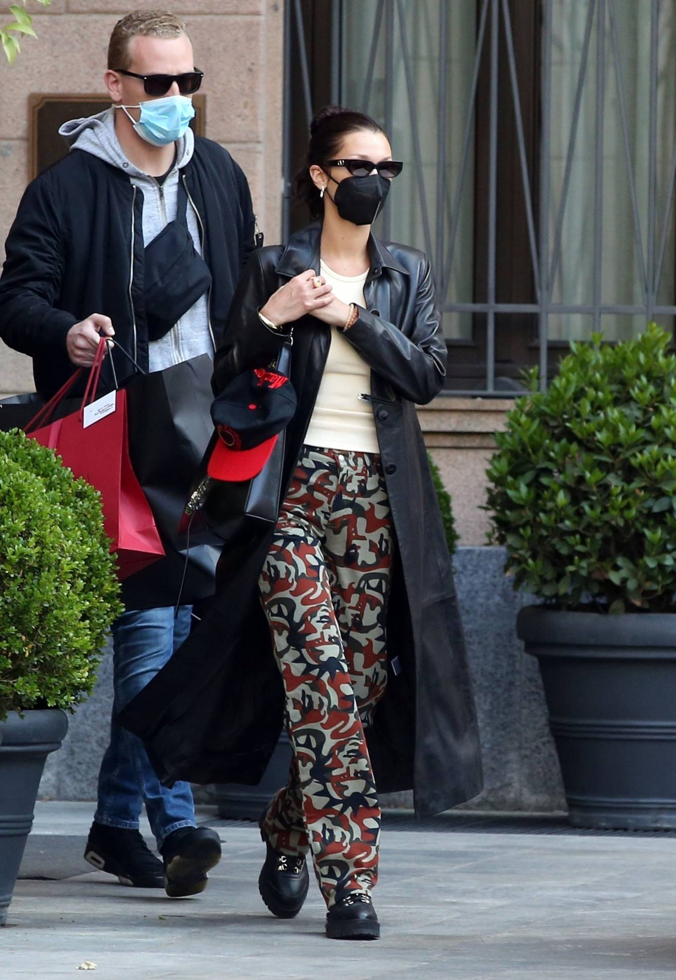 Bella Hadid 2021 : Bella Hadid – Pictured with her bodyguard while leaving her hotel and jetting off from Milan-08