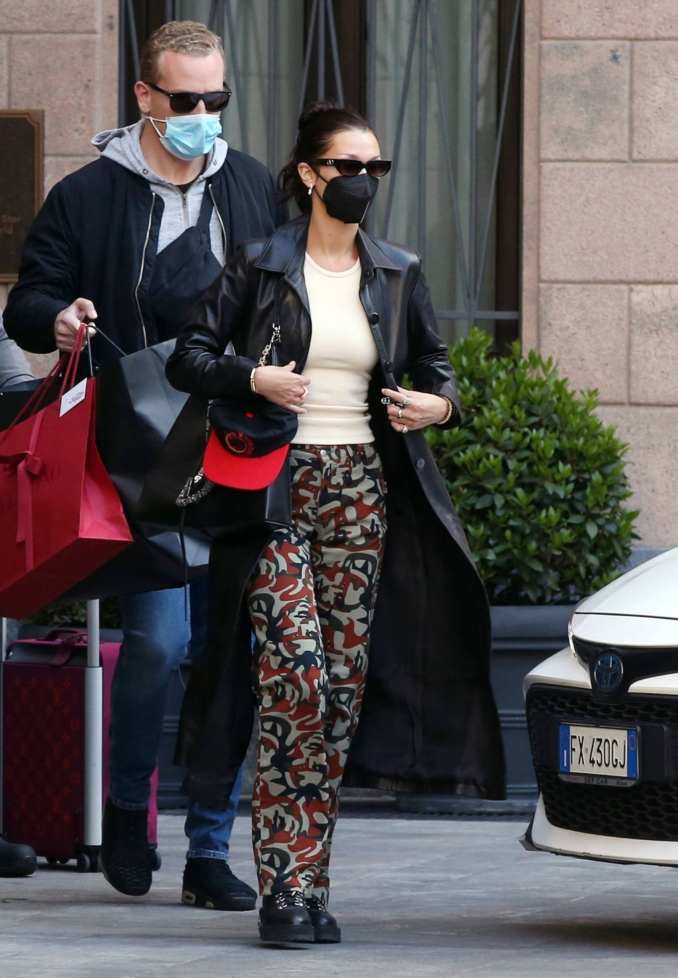 Bella Hadid 2021 : Bella Hadid – Pictured with her bodyguard while leaving her hotel and jetting off from Milan-09