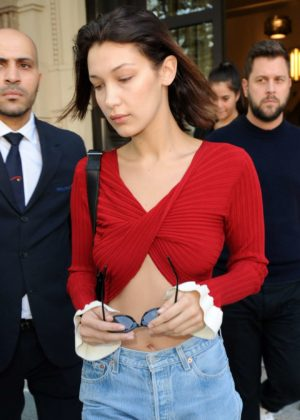 Bella Hadid - Seen leaving her hotel in Milan