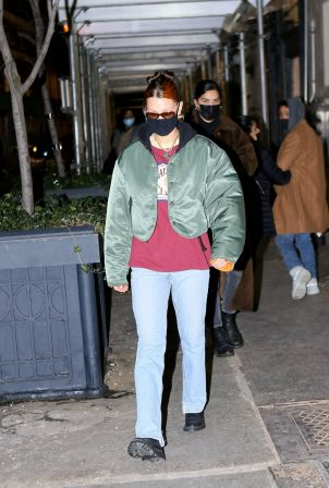 Bella Hadid - Spotted in Alpha Industries jacket at night out in New York City