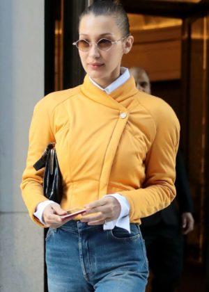 Bella Hadid wearing a futuristic jacket in NYC