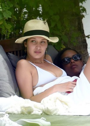 Bella Hadid - Wearing A White Bikini At A Pool In Miami