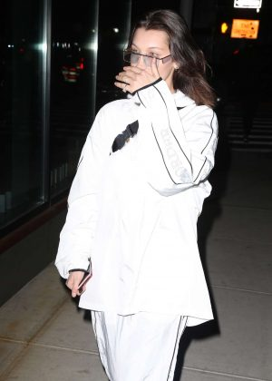 Bella Hadid - Wearing a white South of the Border Tracksuit in NYC