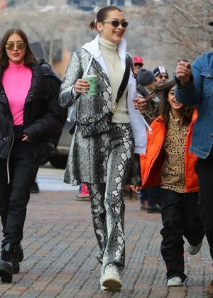 Bella Hadid with her friends out in Aspen