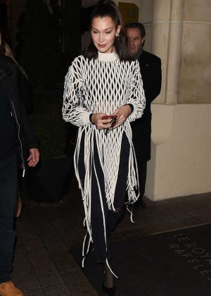 Bella Hadidd - Arriving at Hotel Costes in Paris