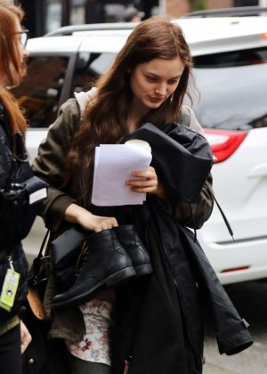 Bella Heathcote - Arrives at 'Fifty Shades Darker' Set in Vancouver