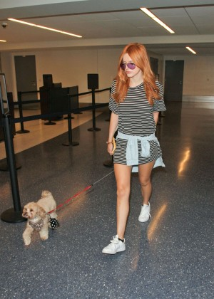 Bella Thorne Leggy in Mini Dress at LAX -08