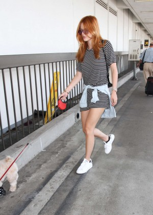 Bella Thorne Leggy in Mini Dress at LAX -09