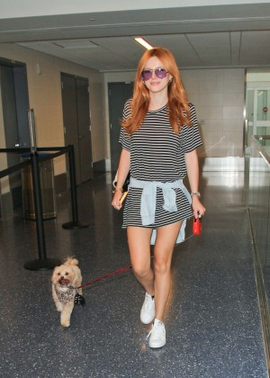 Bella Thorne Leggy in Mini Dress at LAX -11