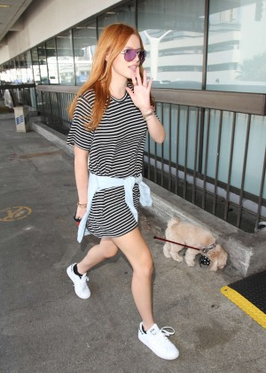 Bella Thorne in Mini Dress at LAX airport in LA