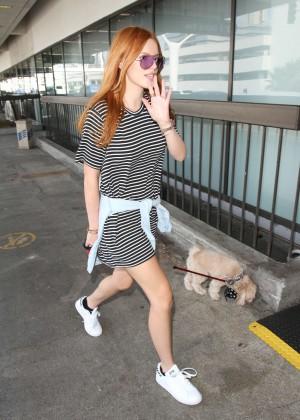 Bella Thorne in Mini Dress at LAX airport in LA