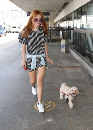 Bella Thorne Leggy in Mini Dress at LAX -18