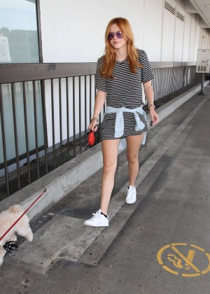 Bella Thorne Leggy in Mini Dress at LAX -19