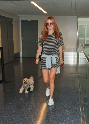 Bella Thorne Leggy in Mini Dress at LAX -20