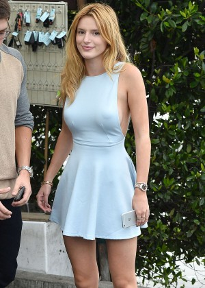 Bella Thorne in Blue Mini Dress out in West Hollywood