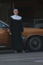Bella Thorne dressed as a Nun in a Secret New Project Upcoming Film in Los Angeles