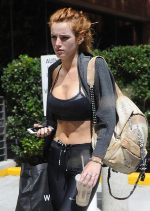 Bella Thorne in Tights and Sports Bra -01