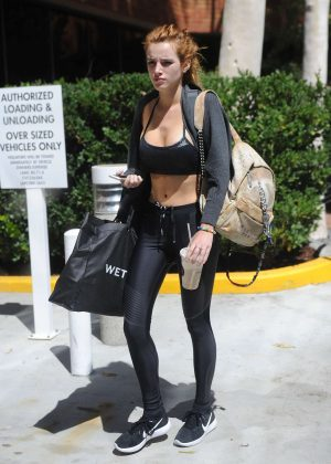 Bella Thorne in Tights and Sports Bra Heading to the gym in Beverly Hills