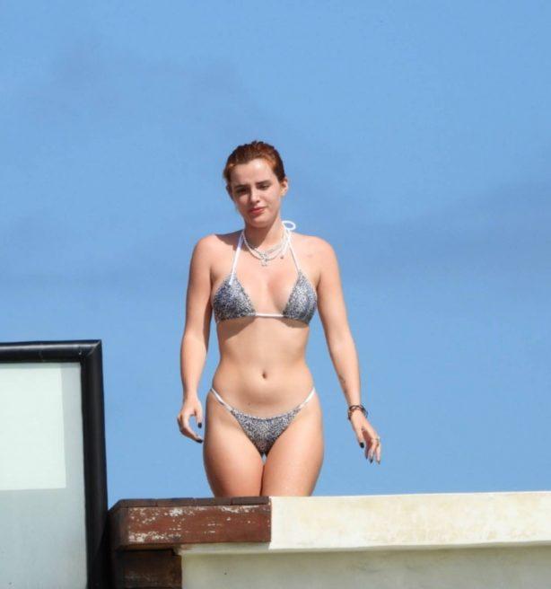 Bella Thorne - In a bikini at a hotel pool in Tulum