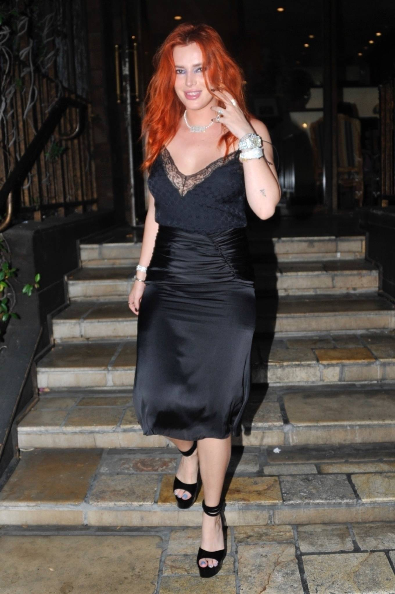 Bella Thorne - In a black Gucci dress seen leaving Le Petite Emeritage hotel in West Hollywood