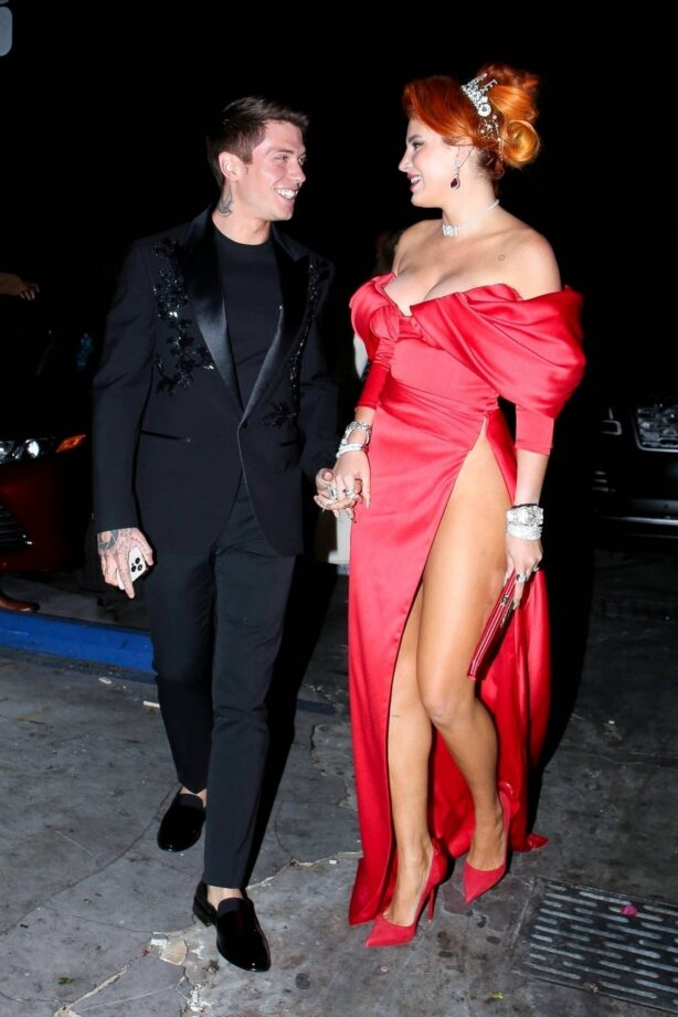 Bella Thorne - In an elegant red gown with her fiancé Benjamin Mascolo at No Vacancy