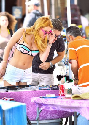 Bella Thorne in Bikini Top at Venice Beach