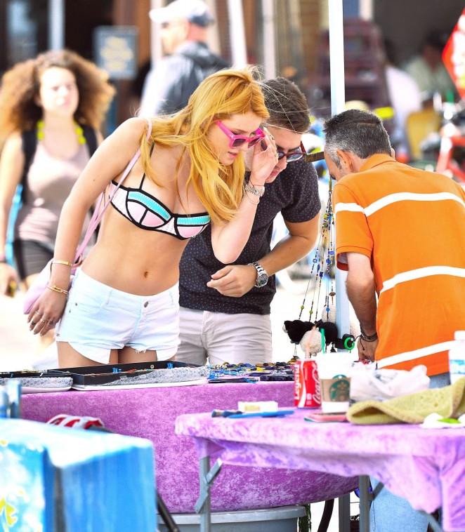 Bella Thorne in Bikini Top at Venice Beach