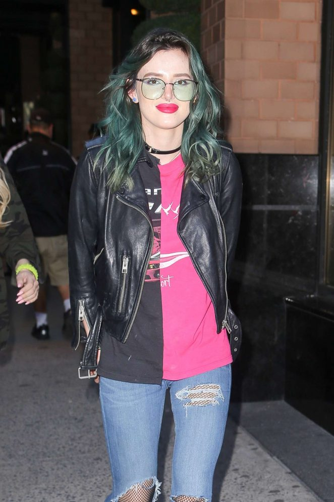 Bella Thorne in Jeans and Leather Jacket out in NYC
